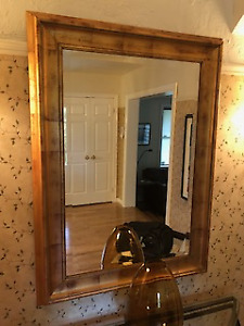 Mirror with gold wood frame