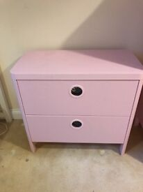 pink Ikea BUSUNGE 2 chest of drawers