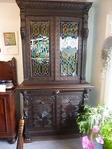 Gothic Antique Cabinet with Stained Glass and Carvings