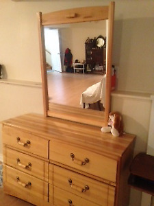 Solid wood bunk beds with matching dresser &mirror