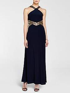 Navy & Gold Evening Dress-Holiday Party or New Year's Dress
