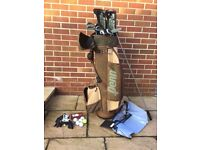 Golf bag, small set of ladies clubs and many accessories