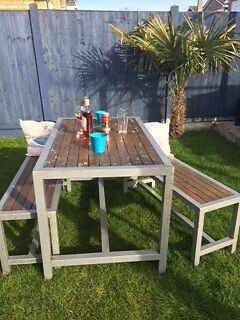 Shabby Chic Garden Table And 2 Benches Style
