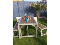 BRILLIENT SET OF TABLE AND 2 BENCHES SHABBY CHIC/INDUSTRIAL STYLE