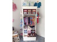 White Children's Wardrobe/ Retail Display Case on wheels