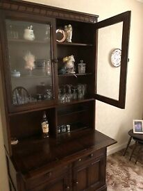Ercol Old Colonial Solid Wood Glazed sideboard/display cabinet