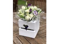 Hand made Wedding Flower Box, Heart details - (Recycled Materials)