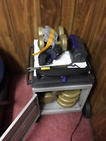 DUMBELL WEIGHTS AND CABINET  $35.00