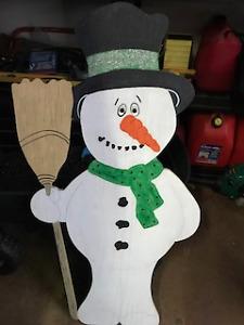Wooden Snowman 3 1/2 feet tall