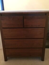 Dark solid wood chest of drawers