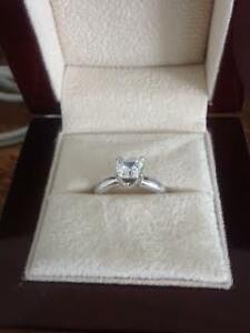 Lab created diamond engagement ring: 1.24 Ct Asscher Solitaire