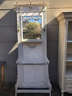 French Provincial Antique White Hall Stand