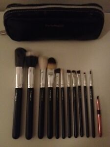 12 Piece Professional Mac Makeup Brush Brushes Cosmetic Make Up Set Case Bag Kit | EBay