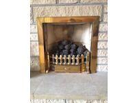 Brass Fire Surround, Brass Fireguard, Brass Ashplate with free Fire Companion Set