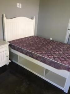 Double Bed, matress, side table