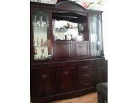 Large Dark Wood Display Cabinet