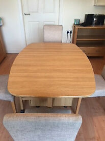 Folding Dining Room Table and 4 Fabric Covered Chairs