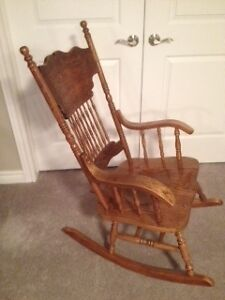 solid oak spindle back rocking chair