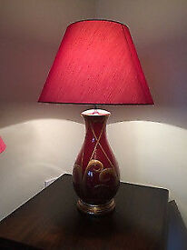 burgendy and gold table lamp
