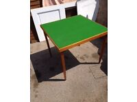 Green-baize topped folding card table in good condition, Southbourne
