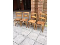 A fabulous set of vintage pine Church chairs