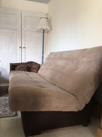 sofa bed beige corduroy clic clak lovely double bed