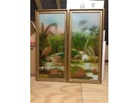 Pair of paintings on glass