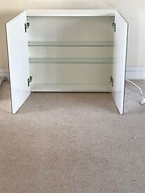 Bathroom cabinet, mirror doors with integral lighting and shaver plug 68wx63hx15d