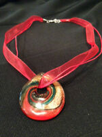 Hand Blown Glass Pendant - Red Necklace