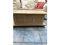 Coffee table / TV Table - pine effect - on wheel, with large drawer under - £10.00