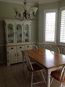 Country Kitchen Table and 4 Chairs with Buffet and Hutch
