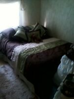 FOR SALE: ONE DOUBLE BED FRAME, HEAD BOARD, AND TWO MATTRESSES!!