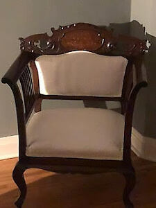 Beautiful Mahogany Antique love seat and chair for sale.