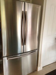 Stainless Steel Fridge, Stove, Microwave Hood Combo