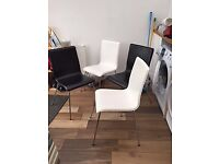 Four Kitchen/Dining Room Chairs / 2 black & 2 white