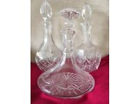 crystal decanter x 3
