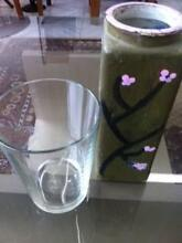 2 Glass Vases, 1 clear Glass and 1 Hand Painted Matraville Eastern Suburbs Preview