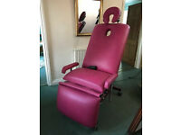 Three section electronic therapy couch, with additional head and arm rests (in aubergine)