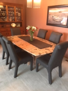 Italian Marble Dining Room set with 8 upholstered chairs