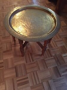 Brass Hammered Side Table Tray
