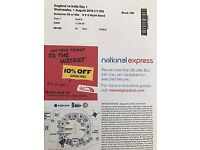 England v India Test match tickets Wednesday 1st August