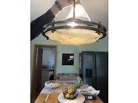 Antique brass and glass pendant ceiling light - circa 1930