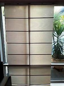 Panel Glides x 5, Beige with Teak Batons, Good Condition Nerang Gold Coast West Preview
