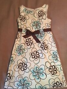 Ladies White Dress with Turquoise and Brown Flowers.
