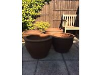 VERY LARGE THAI EARTHENWARE GARDEN POTS