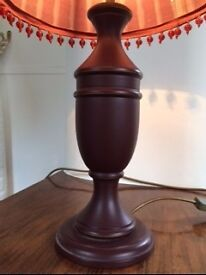 Laura Ashley wooden lamp base in dark red with cranberry beaded shade £16