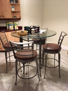 Table de cuisine en vitre style bistro - négo