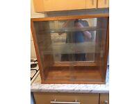 Display Cabinet Wooden Glass Shelves/Doors 485mm Wide 175mm Deep 480mm High