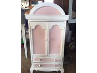 Miniature 'wardrobe' storage cupboard, ideal for girl's room, pink and white