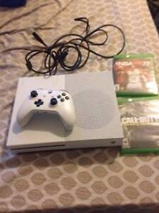 White XBox One S-1TB with controller & 2 games